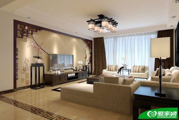 海棠湾三室二厅中式风格